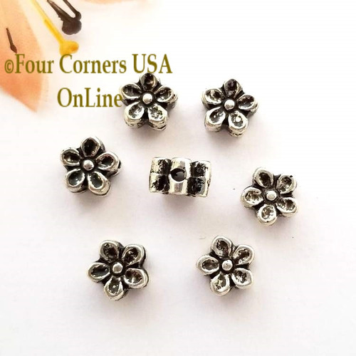 6mm Daisy Oxidized Silver Plated Spacer Beads 10 Pieces Special Buy Final Sale BDZ-1947 Four Corners USA OnLine Jewelry Making Beading Craft Supplies