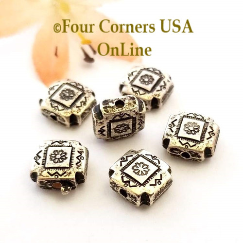 9mm Etched Square Pillow Oxidized Silver Plated Beads 10 Pieces Special Buy Final Sale BDZ-1950 Four Corners USA OnLine Jewelry Making Beading Craft Supplies