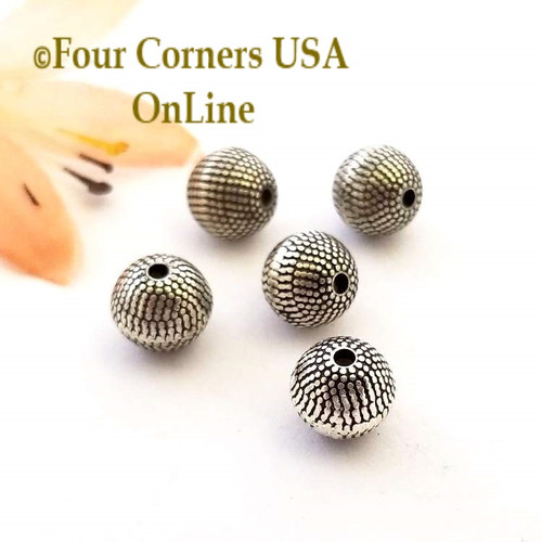 8mm Etched Round Oxidized Silver Plated Beads 20 Pieces Special Buy Final Sale BDZ-1951 Four Corners USA OnLine Jewelry Making Beading Craft Supplies