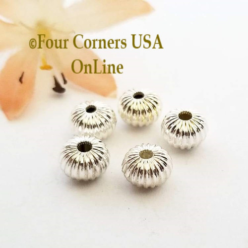 8mm Melon Bright Silver Plated Beads 20 Pieces Special Buy Final Sale BDZ-1954 Four Corners USA OnLine Jewelry Making Beading Craft Supplies