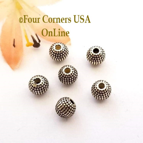 6mm Etched Round Oxidized Silver Plated Beads 20 Pieces Special Buy Final Sale BDZ-1955 Four Corners USA OnLine Jewelry Making Beading Craft Supplies