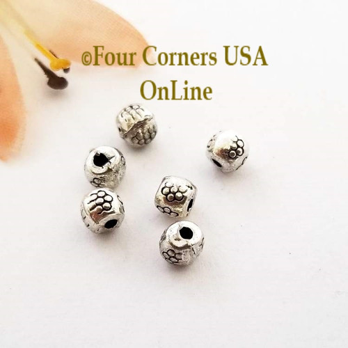 3mm Etched Floral Silver Plated Spacer Beads 60 Pieces Special Buy Final Sale BDZ-1956 Four Corners USA OnLine Jewelry Making Beading Craft Supplies