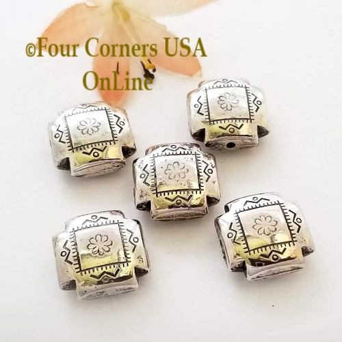 11mm Etched Square Pillow Oxidized Silver Plated Beads 10 Pieces Special Buy Final Sale BDZ-1959 Four Corners USA OnLine Jewelry Making Beading Craft Supplies