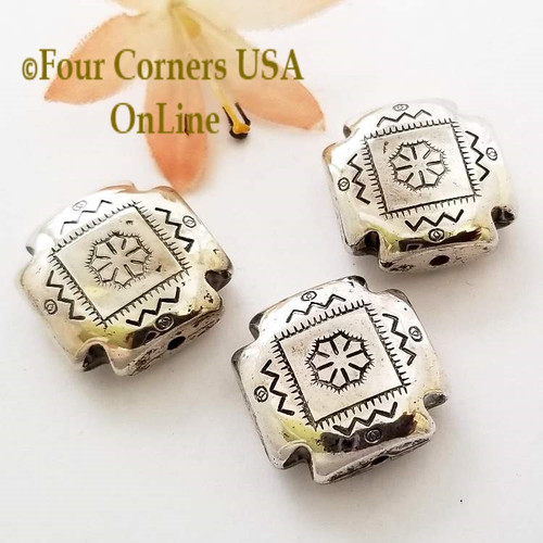 22mm Etched Square Pillow Oxidized Silver Plated Beads 4 Pieces Special Buy Final Sale BDZ-1960 Four Corners USA OnLine Jewelry Making Beading Craft Supplies