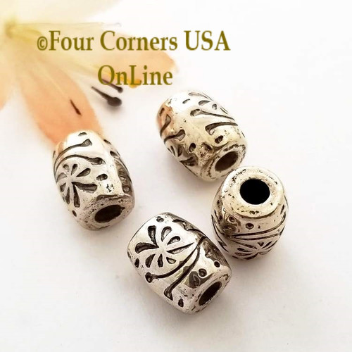 12mm Etched Floral Oxidized Silver Plated Beads 16 Pieces Special Buy Final Sale BDZ-1961 Four Corners USA OnLine Jewelry Making Beading Craft Supplies