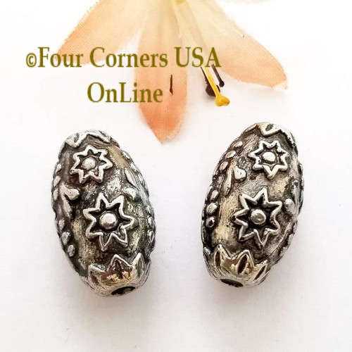 23mm Etched Floral Oxidized Silver Plated Beads 8 Pieces Special Buy Final Sale BDZ-1962 Four Corners USA OnLine Jewelry Making Beading Craft Supplies