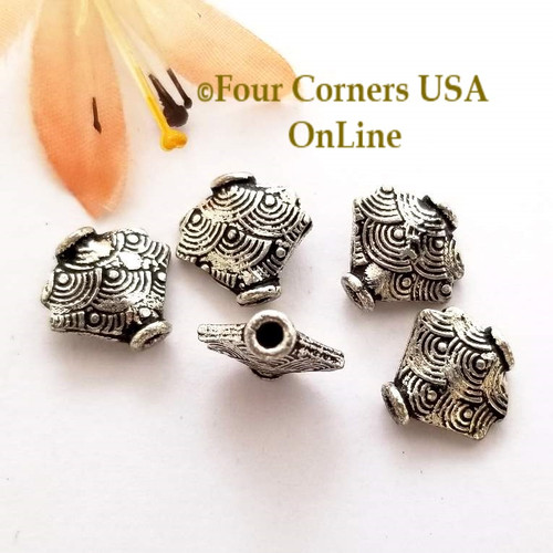 Etched Scallop Bead Sterling over Copper Closeout Final Sale BDZ-1965 Four Corners USA OnLine Jewelry Making Beading Craft Supplies