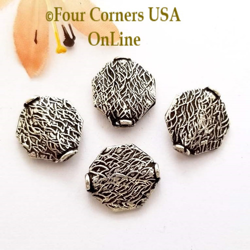 Etched Octagon Bead Sterling over Copper Closeout Final Sale BDZ-1966 Four Corners USA OnLine Jewelry Making Beading Craft Supplies