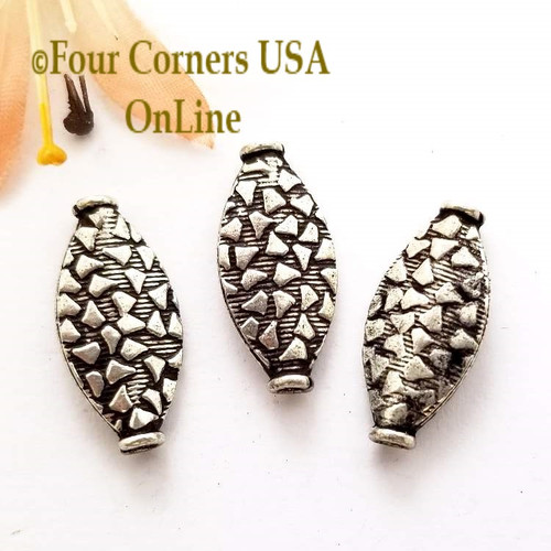 Etched Oval Bead Sterling over Copper Closeout Final Sale BDZ-1967 Four Corners USA OnLine Jewelry Making Beading Craft Supplies