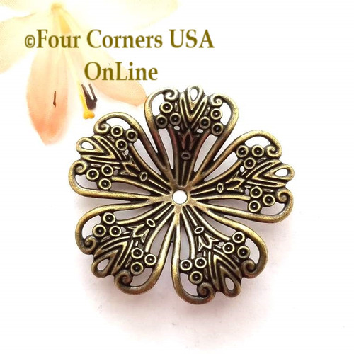 Antiqued Brass Fancy Flower Jewelry Component 12 Pieces Closeout Final Sale BDZ-1974 Four Corners USA OnLine Jewelry Making Beading Craft Supplies