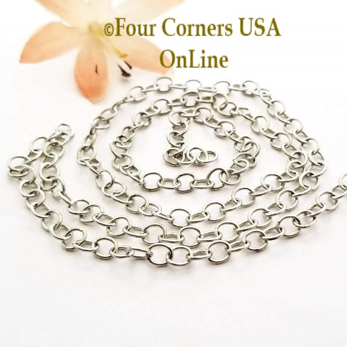 4.2mm Cable Silver Plated Steel Chain 5 foot package BDZ-1977 Four Corners USA OnLine Jewelry Making Beading Craft Supplies
