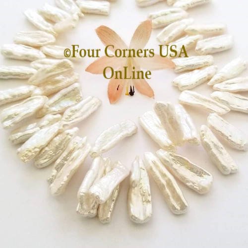 Graduated White Freshwater Biwa Stick Pearls Top Drill Bead Strands Closeout Final Sale BDZ-1979 Four Corners USA OnLine Jewelry Making Beading Craft Supplies