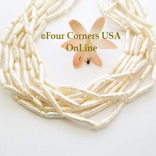 White Freshwater Biwa Tube Stick Pearl Bead Strands Special Buy Final Sale BDZ-1980 Four Corners USA OnLine Jewelry Making Beading Craft Supplies