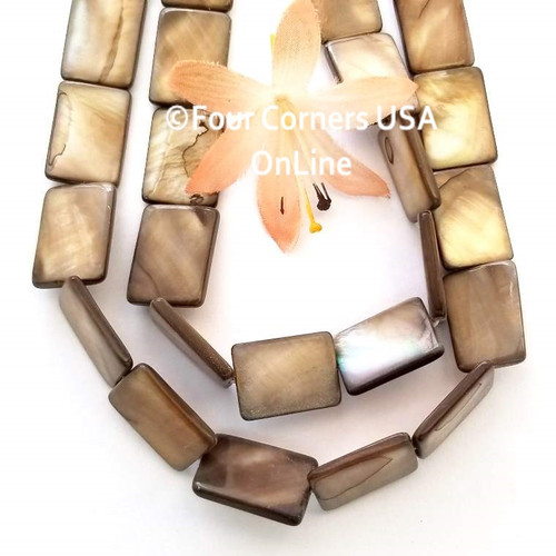 Bronze 18mm Rectangle Mother of Pearl Shell Bead Strands Four Corners USA OnLine Jewelry Making Beading Craft Supplies