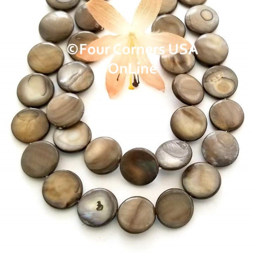 Bronze 14mm Coin Mother of Pearl Shell Bead Strands Four Corners USA OnLine Jewelry Making Beading Craft Supplies