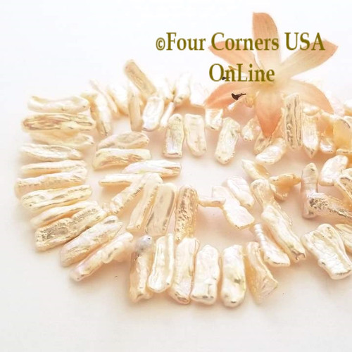 Blush Freshwater Biwa Stick Pearl Graduated Top Drilled Bead Strands Four Corners USA OnLine Jewelry Making Beading Craft Supplies