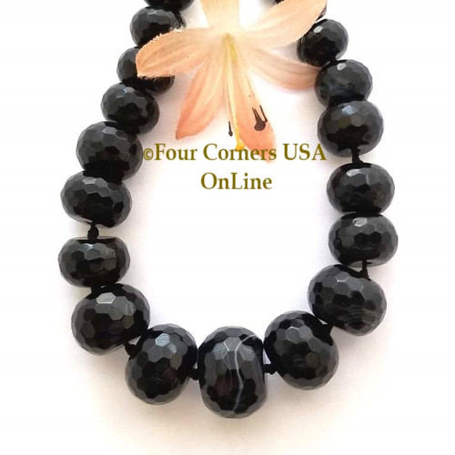 Black Agate 7 to 17mm Faceted Rondelle Graduated Bead Strand Four Corners USA OnLine Designer Jewelry Making Beading Craft Supplies