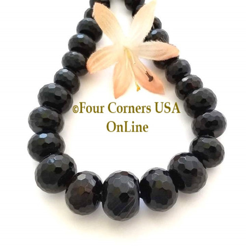 Black Agate 7 to 18mm Faceted Rondelle Graduated Bead Strand Four Corners USA OnLine Designer Jewelry Making Beading Craft Supplies