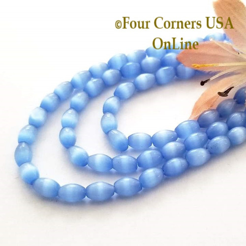 Blue 6mm Rice Shape Smooth Cats Eye Glass Bead Strand Four Corners USA OnLine Designer Jewelry Making Beading Craft Supplies