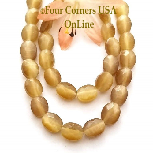Cats Eye Champagne Optics Faceted 10mm Oval 15 Inch Bead Strand Four Corners USA OnLine Designer Jewelry Making Beading Craft Supplies
