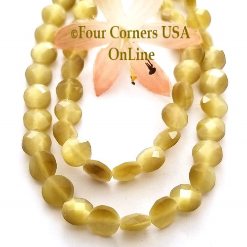 Cats Eye Olive Optics Faceted 8mm Flat Round 15 Inch Bead Strand Four Corners USA OnLine Designer Jewelry Making Beading Craft Supplies