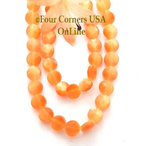 Cats Eye Tangerine Optics Faceted 8mm Flat Round 15 Inch Bead Strand Four Corners USA OnLine Designer Jewelry Making Beading Craft Supplies