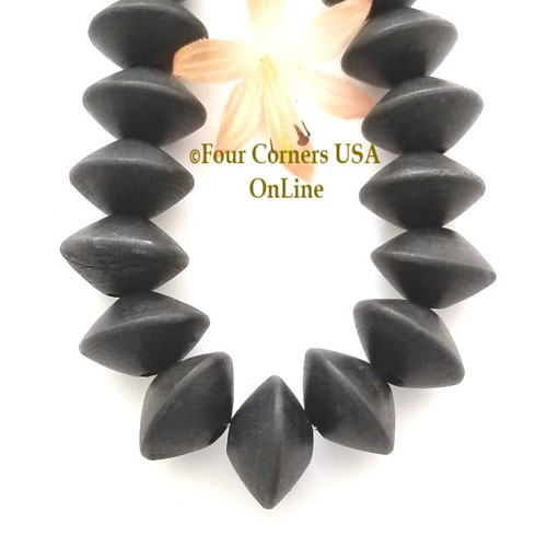 15mm Black Saucer Wood Beads 16 Inch Four Corners USA OnLine Designer Jewelry Making Beading Craft Supplies