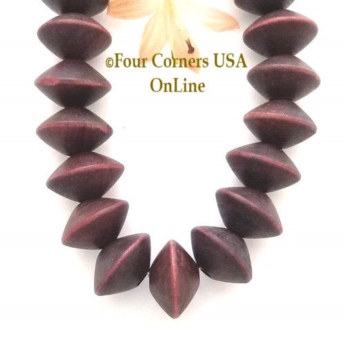 15mm Burgundy Saucer Wood Beads 16 Inch Four Corners USA OnLine Designer Jewelry Making Beading Craft Supplies