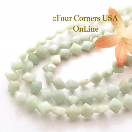 Amazonite Faceted Diamond Shape Beads 15 Inch Four Corners USA OnLine Designer Jewelry Making Beading Craft Supplies