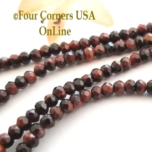 4mm Faceted Mahogany Red Tiger Eye Bead Strand Four Corners USA OnLine Designer Jewelry Making Beading Craft Supplies