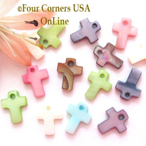 12mm Cross Shell MOP Drops Approximately 100 Pieces BDZ-2014 Four Corners USA OnLine Designer Jewelry Making Beading Craft Supplies
