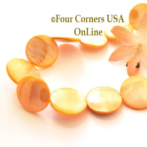 Mango 20mm Puff Coin Mother of Pearl Shell Bead Strands Four Corners USA OnLine Jewelry Making Beading Craft Supplies O-09004