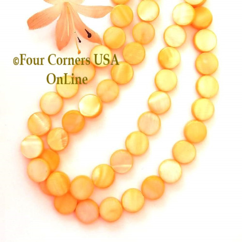 Mango 11mm Flat Coin Mother of Pearl Shell Bead Strands Four Corners USA OnLine Designer Jewelry Making Beading Craft Supplies