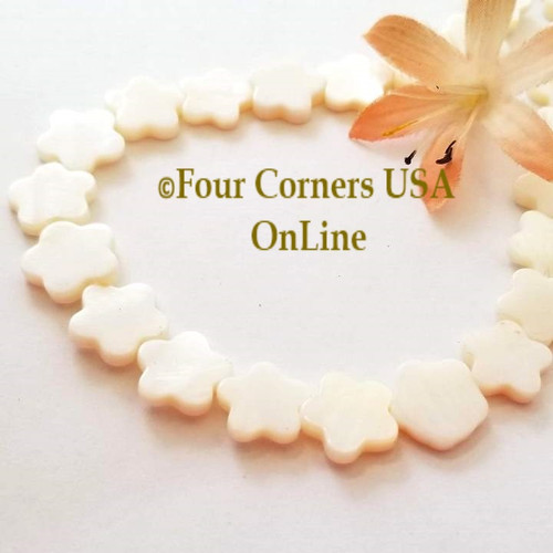 13mm Flower Shape White Mother of Pearl Shell Bead Strands Four Corners USA OnLine Designer Jewelry Making Beading Craft Supplies