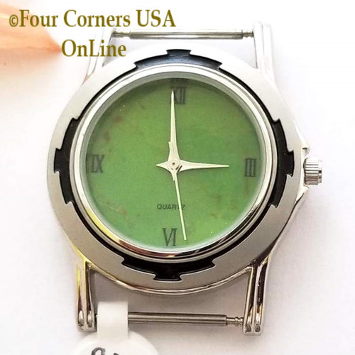 Men's 23M Mohave Green Kingman Turquoise Stone Watch Face 18mm pin Four Corners USA Native American Jewelry Supplies