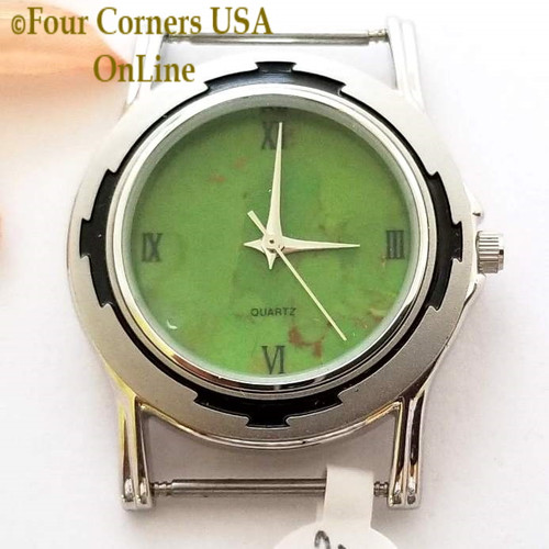 Men's 24M Mohave Green Kingman Turquoise Stone Watch Face 18mm pin Four Corners USA Native American Jewelry Supplies