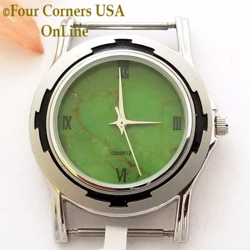 Men's 25M Mohave Green Kingman Turquoise Stone Watch Face 18mm pin Four Corners USA Native American Jewelry Supplies