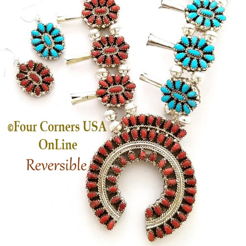On Sale Now! Turquoise Coral Reversible Petit Point Squash Blossom Necklace Earring Jewelry Set NAN-TQC-EJ Four Corners USA OnLine Native American Jewelry Southwest Beading Supplies