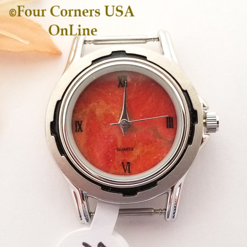 Women's 44W Natural Apple Coral Watch Face 12mm pin NAWF-AC-44W Closeout Final Sale Four Corners USA OnLine Southwest Jewelry Supplies