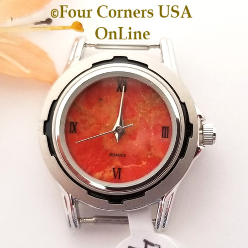 Women's 45W Natural Apple Coral Watch Face 12mm pin NAWF-AC-45W Closeout Final Sale Four Corners USA OnLine Southwest Jewelry Supplies
