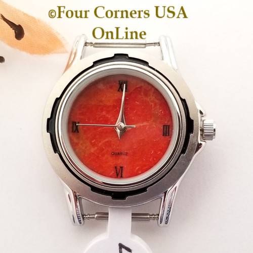 Women's 46W Natural Apple Coral Watch Face 12mm pin NAWF-AC-46W Closeout Final Sale Four Corners USA OnLine Southwest Jewelry Supplies