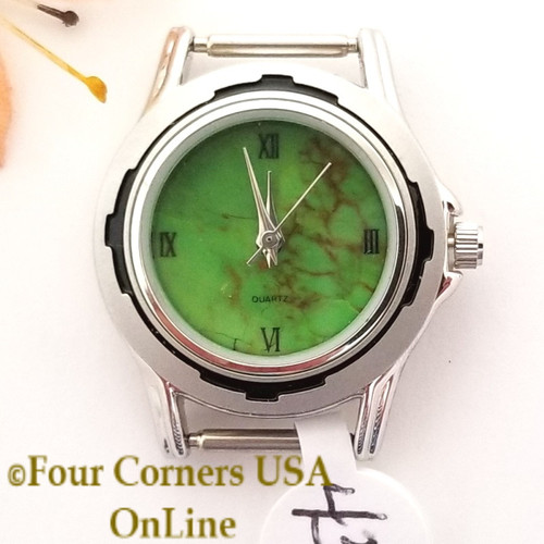 Women's 43W Mohave Green Kingman Turquoise Stone Watch Face 12mm pin NAWF-MG-43W Closeout Final Sale Four Corners USA OnLine Southwest Jewelry Supplies
