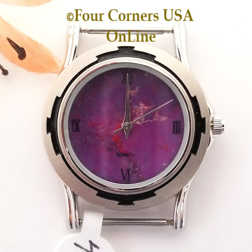 Men's 41M Mohave Purple Kingman Turquoise Stone Watch Face 18mm pin NAWF-MP-41M Closeout Final Sale Four Corners USA OnLine Southwest Jewelry Supplies