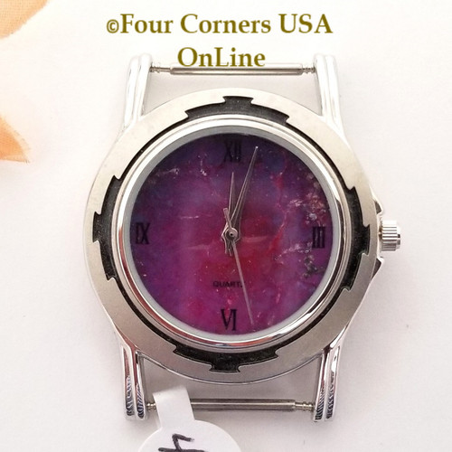 Men's 44M Mohave Purple Kingman Turquoise Stone Watch Face 18mm pin NAWF-MP-44M Closeout Final Sale Four Corners USA OnLine Southwest Jewelry Supplies