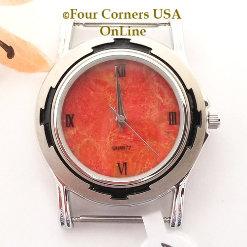 Men's 45M Natural Apple Coral Etched Watch Face 18mm pin NAWF-AC-45M Closeout Final Sale Four Corners USA OnLine Southwest Jewelry Supplies