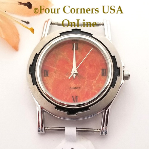 Men's 46M Natural Apple Coral Etched Watch Face 18mm pin NAWF-AC-46M Closeout Final Sale Four Corners USA OnLine Southwest Jewelry Supplies