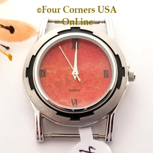 Men's 47M Natural Apple Coral Etched Watch Face 18mm pin NAWF-AC-47M Closeout Final Sale Four Corners USA OnLine Southwest Jewelry Supplies