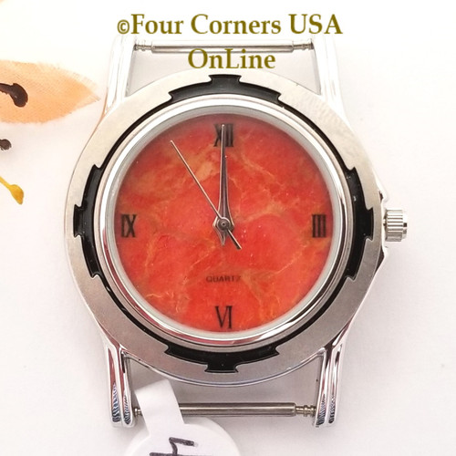 Men's 48M Natural Apple Coral Etched Watch Face 18mm pin NAWF-AC-48M Closeout Final Sale Four Corners USA OnLine Southwest Jewelry Supplies