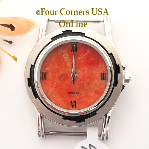Men's 49M Natural Apple Coral Etched Watch Face 18mm pin NAWF-AC-49M Closeout Final Sale Four Corners USA OnLine Southwest Jewelry Supplies