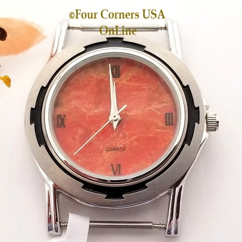 Men's 50M Natural Apple Coral Etched Watch Face 18mm pin NAWF-AC-50M Closeout Final Sale Four Corners USA OnLine Southwest Jewelry Supplies